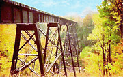 Man Made Structure Digital Art Prints - Train Trestle Print by Phil Perkins