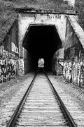 Railroads Photos - Train Tunnel At The Muir Trestle in Martinez California . 7D10235 . black and white by Wingsdomain Art and Photography
