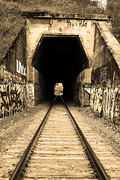 Black And White Photographs Photos - Train Tunnel At The Muir Trestle in Martinez California . 7D10235 . sepia by Wingsdomain Art and Photography