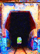 Impressionism Digital Art - Train Tunnel With Graffiti by Wingsdomain Art and Photography