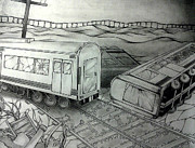 Gloomy Drawings Prints - Train Wreckage Print by Chiaki Hagiwara