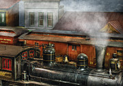 Railroads Posters - Train - Yard - The train yard II Poster by Mike Savad