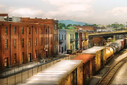 Urban Buildings Prints - Train - Yard - Train Town Print by Mike Savad