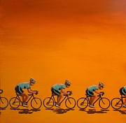 Cyclists Paintings - Training by Jennifer Lynch