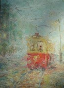 Old Tram Painting Framed Prints - Tram From Childhood. 1988 Framed Print by Ivan KRUTOYAROV