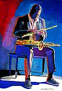 Player Painting Posters - Trane - John Coltrane Poster by David Lloyd Glover