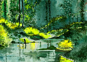 Rain Drawings Originals - Tranquil 1 by Anil Nene