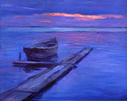 Purple Drawings Prints - Tranquil boat sunset painting Print by Svetlana Novikova
