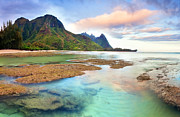 Tunnels Beach Prints - Tranquil Dawn Hawaii Print by Monica and Michael Sweet