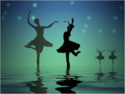 Ballerinas Digital Art Prints - Tranquil Persuasion Print by Joyce Dickens