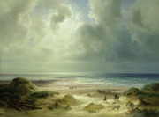 Boat On Beach Paintings - Tranquil Sea by Carl Morgenstern