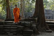 Buddhist Monk Photos - Tranquil Surroundings Cambodia by Bob Christopher