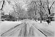 Quite Posters - Tranquil Winter Snow Street With Car Tracks Poster by Exclusive Canvas Art