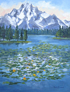 National Park Paintings - Tranquility Grand Tetons by Karin  Leonard