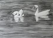 Geese Drawings - Tranquility by Heather Ward