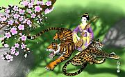 Oriental Tiger Prints - Tranquillity Print by Devaron Jeffery