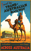 Sitting  Digital Art Posters - Trans-Australia Railway Poster by Nomad Art And  Design
