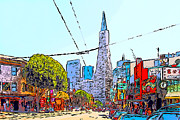 Italian Digital Art - Transamerica Pyramid Through North Beach San Francisco by Wingsdomain Art and Photography