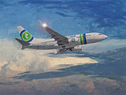 Boeing Paintings - Transavia Boeing 737 no2 by Nop Briex