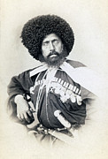 1880s Framed Prints - Transcaucasian Cossack. Portrait Carte Framed Print by Everett