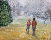 Winter Scene Paintings - Transfixed by Elizabeth Lane