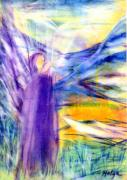 Visionary Art Painting Prints - Transformational peace Print by Helga Sigurdardottir