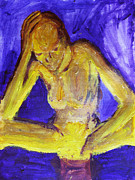 Lesbian Paintings - Transgender Agony and Contemplation of Transformation Genderqueer sitting with head in hands yellow by ImQueer AndLoveIt