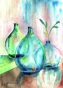 Vases Mixed Media Posters - Transparent Bottles Poster by Arline Wagner