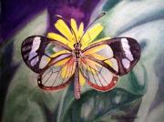 Christmas Paintings - Transparent Butterfly by Irina Sztukowski