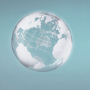 Longitude Posters - Transparent Globe Displaying Three Continents Poster by Christoph Wilhelm