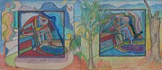 Jamaican Art Paintings - Trapped in Time 2 Diptych by John Powell