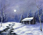 Snowscape Painting Posters - Trappers Cabin Poster by Jerry Walker
