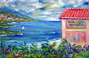 Red Tile Roof Posters - Trattoria by the Sea Poster by Patricia Taylor
