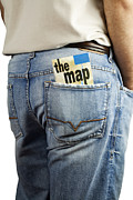 Casual Blue Jeans Posters - Travel map in back pocket Poster by Blink Images