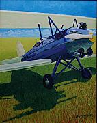 Biplane Paintings - TravelAir in the Sun by Ron Smothers
