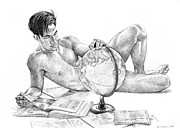 Male Drawings Prints - Traveler Print by Douglas Simonson