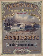 Railroads Posters - Travelers Insurance Company Advertising Poster by Everett