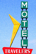 Oklahoma Digital Art Posters - Travelers Motel Tulsa Oklahoma Poster by Wingsdomain Art and Photography