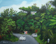 Puerto Rico Paintings - Traveling In Adjuntas Mountains by Luis F Rodriguez