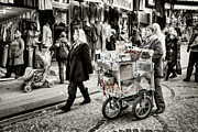 Crowd Scene Prints - Traveling Vendor Print by Joan Carroll