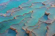 Pool Photography Prints - Travertine Terraces Of Pamukkale Print by Keren Su