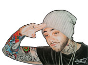 Mccoy Drawings Framed Prints - Travie Mccoy Framed Print by Carlos Velasquez Art