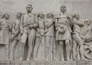 War Memorial Photos - Travis and Crockett on Alamo Monument by Carol Groenen