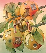 Apple Tree Drawings Metal Prints - Trawelling Worm Metal Print by Kestutis Kasparavicius