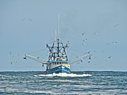 Barnegat Inlet Photo Posters - Trawler Homeward Bound Poster by Carol Senske