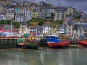 Quay Wall Framed Prints - Trawler in Brixham Harbour Framed Print by Mike Lester