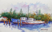 Fishing Boats Originals - Trawlers of Maine coast by Chuck Creasy