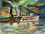 Abigail Paintings - Trawling by Isabella F Abbie Shores