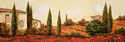 Landscapes Glass Prints - Tre Case Tra I Papaveri Print by Guido Borelli