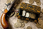 Coins Posters - Treasure box with old pistol Poster by Garry Gay
